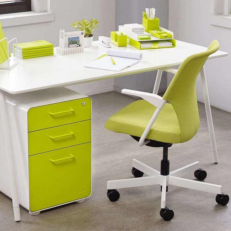 White + Lime Green West 18th 3-Drawer File Cabinet Modern Office