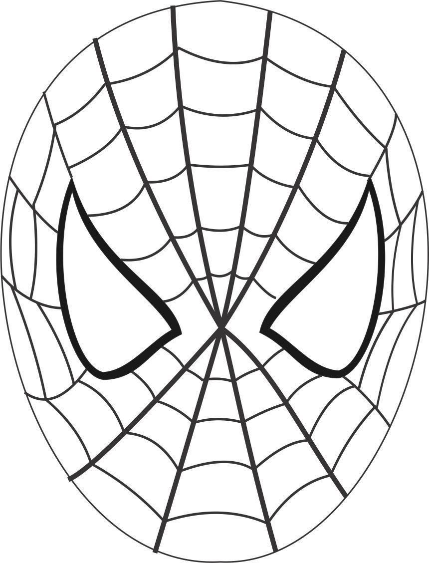 Spiderman mask printable coloring page for kids: Coloring