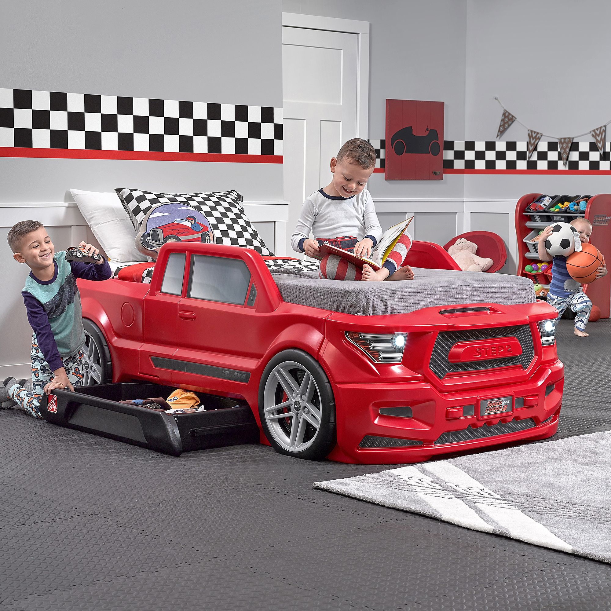 Step2® Turbocharged Truck Twin Bed in Red in 2020 Kids