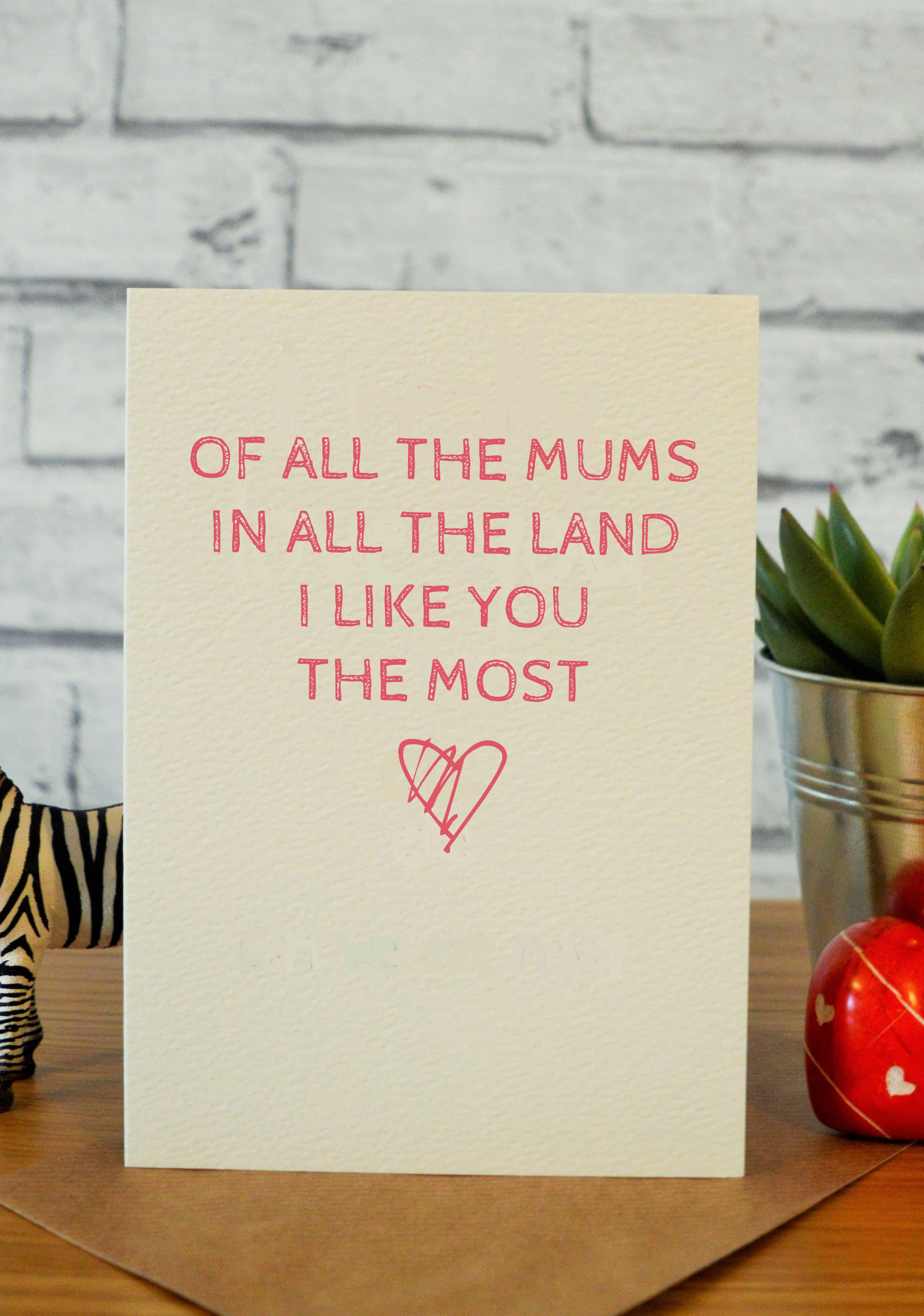 Mothers Day Card Sweet Cute Birthday For