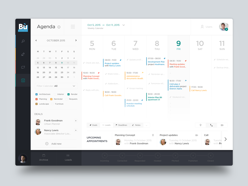 Calendar Ui Design Inspiration : Calendar agenda ui pinterest design and