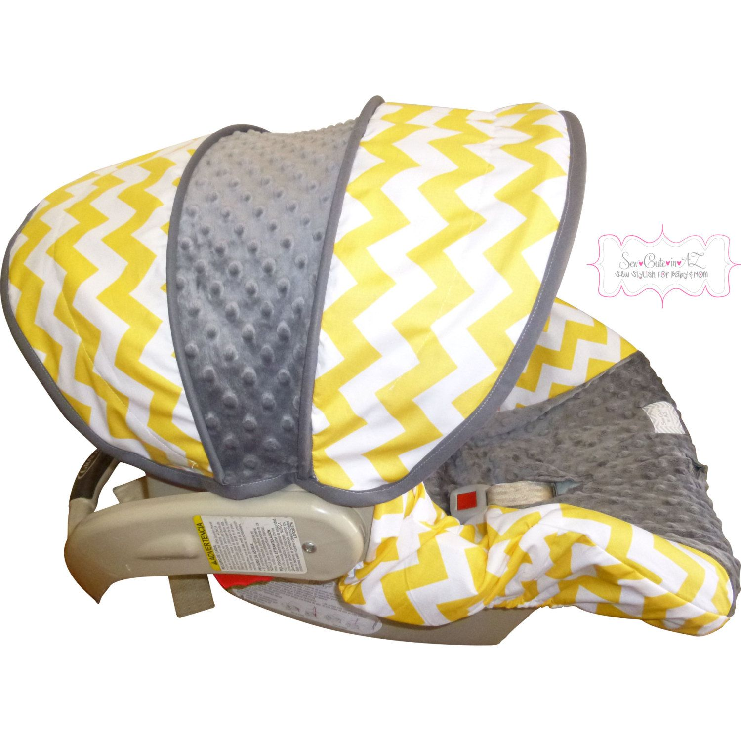 Yellow+Chevron+with+Charcoal+Infant+Car+Seat+Cover+by+sewcuteinaz,+$