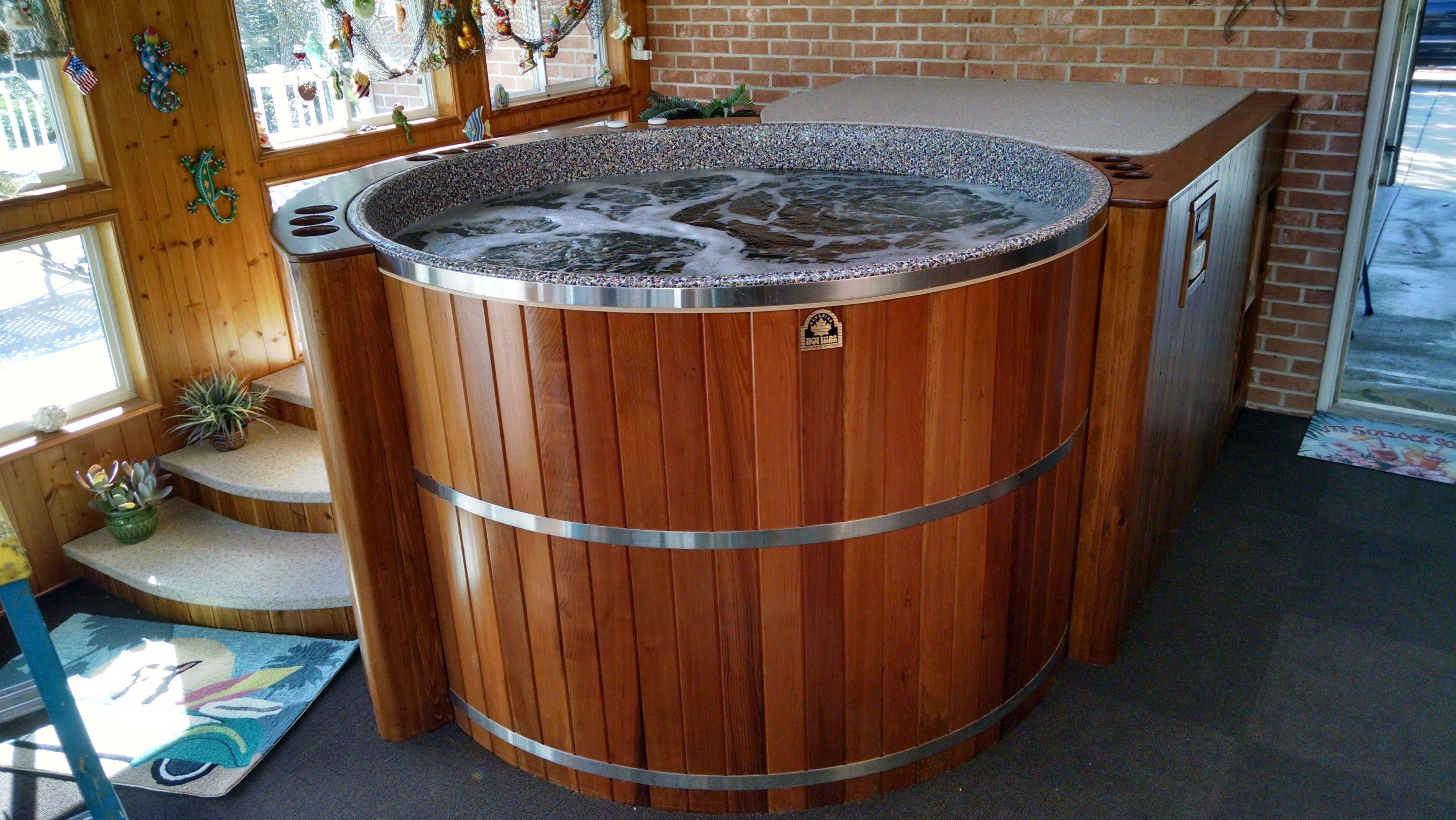 Prefer To Enjoy Your Hot Tub Indoors Our Cedar Hot Tub Kits Can Be Installed Almost Anywhere Cedar Hot Tub Hot Tub Tub