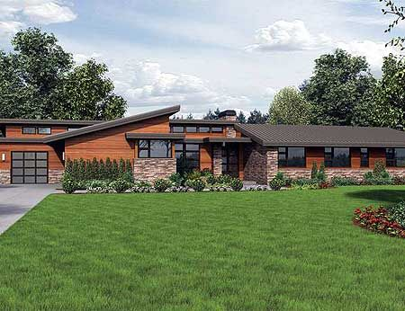 Plan 69510am Stunning Contemporary Ranch Home Plan Modern Style House Plans Ranch House Designs Contemporary House Plans