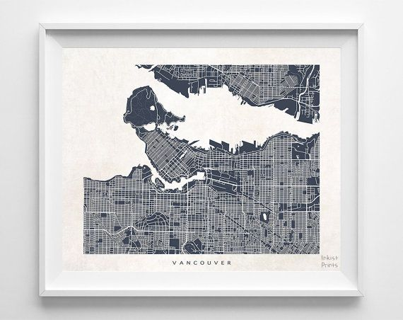 Vancouver Canada Map $19 95 Shipping Worldwide [ for
