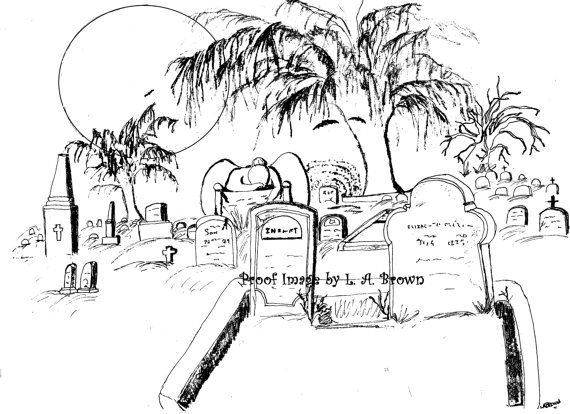 Cemetery Coloring Pages
