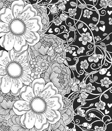 75+ Best Coloring Books for Adults Black backgrounds, Coloring - copy coloring pages with hearts and flowers