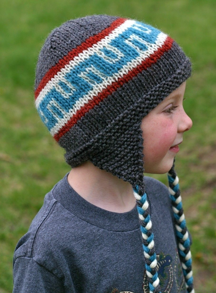 Knitted Hat Patterns With Ear Flaps : Knitting Pattern - Earflap Hat - Knit Hat Pattern - Knitted Hat Pattern - Kid...