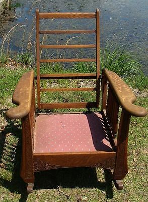 1800s WOODEN HIGHLY CARVED RECLINER ROCKER CHAIRMOST