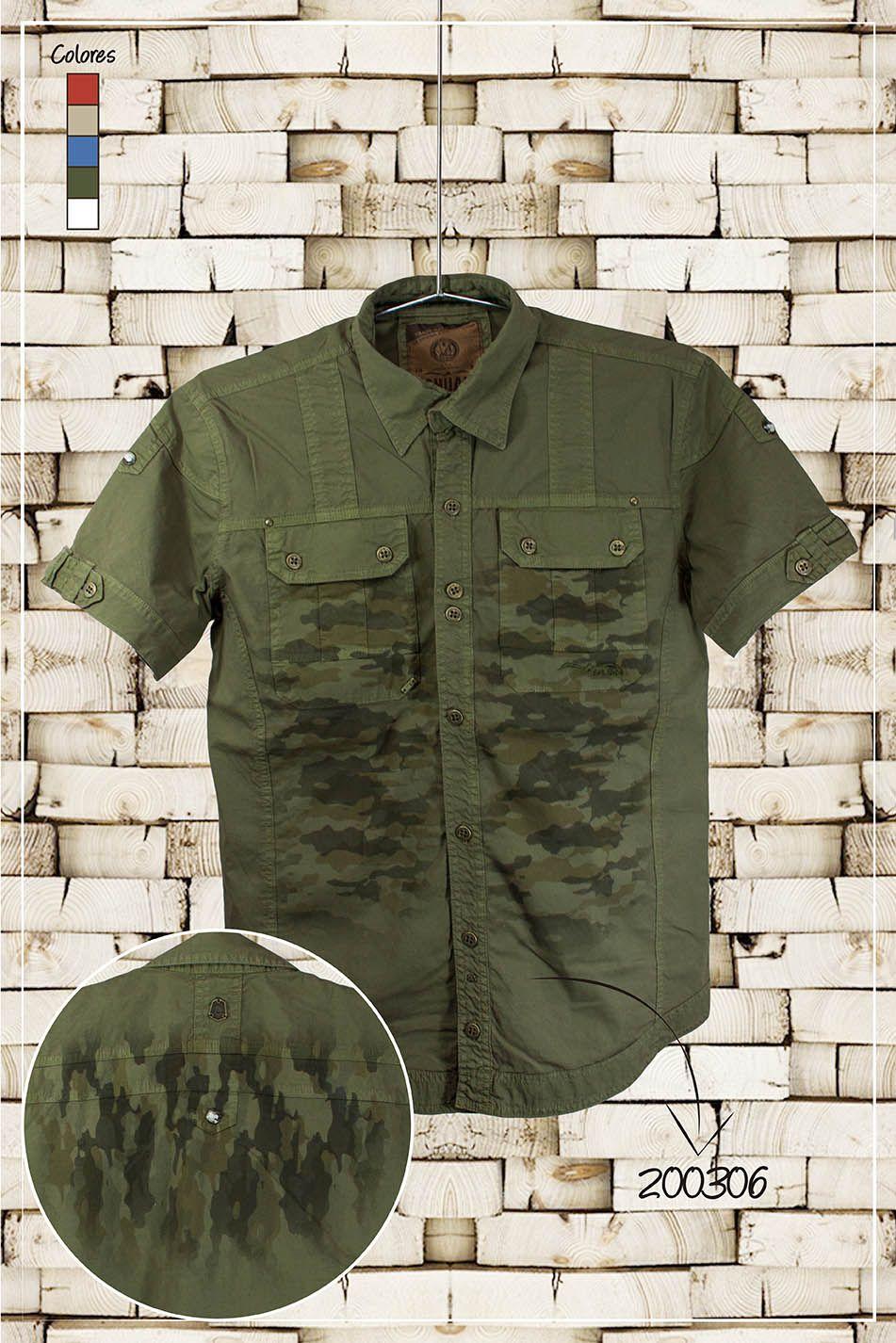 Ropa-de-moda-camisa-manga-corta-color-verde-militar-con-estampado-camuflado-ref200306