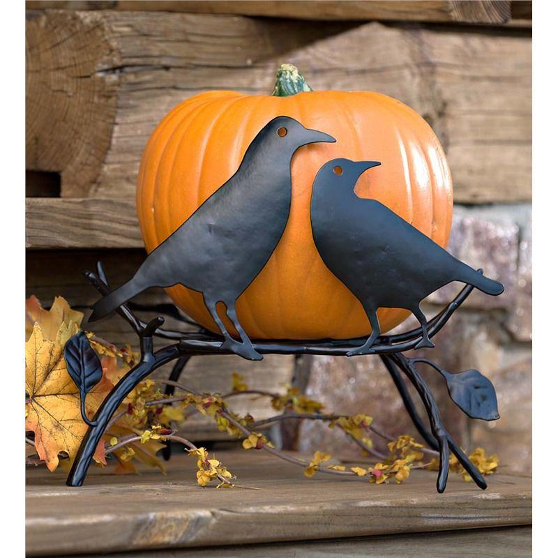 Halloween Pumpkin Holder with Ravens On Branch Halloween