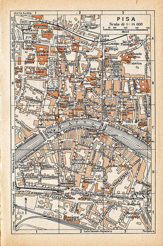 1949 Pisa Vintage Street Map Karta Globes Konst