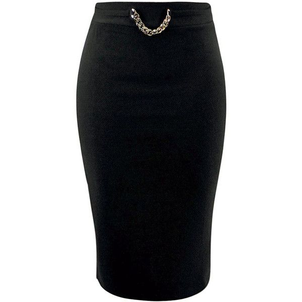 Black Ponte Knit Pencil Skirt With Gold Chain ($25) ❤ liked on Polyvore featuring skirts, black, high waisted long skirt, high-waisted pencil skirts, elastic waist pencil skirt, high-waisted skirts and pencil skirt