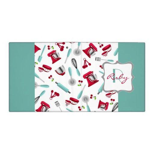 Retro Cherry Kitchen Gadgets Personalized Monogram 3 Ring