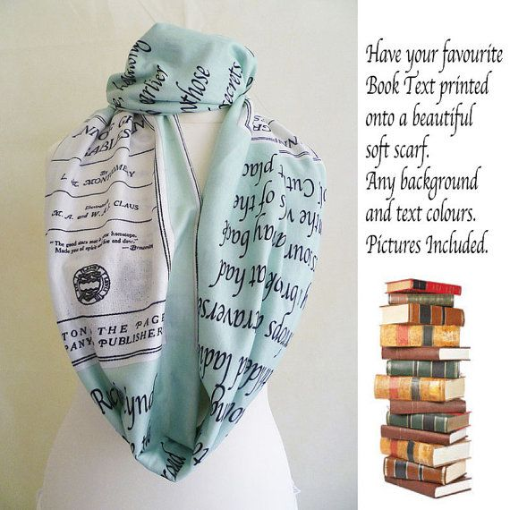 Custom Printed Book Scarf Literary by RoobyLane