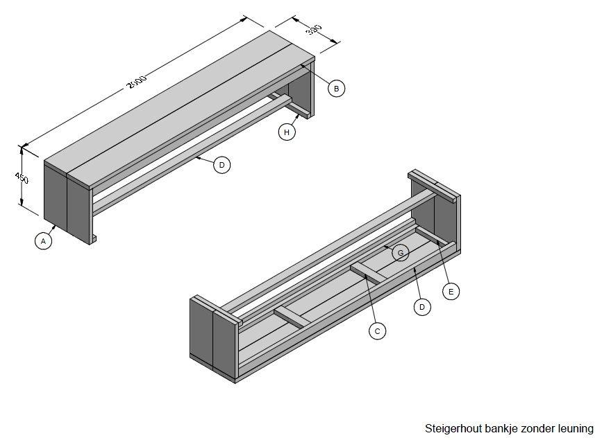 Nl steigerhout bankje zonder leuning voor buiten for Steigerhouten bank bouwtekening