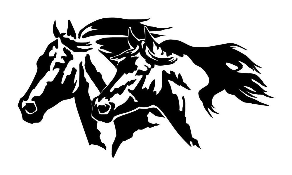 LARGE  HORSE HEADS Equestrian Cowboy Decal Truck Window Trailer -  horse graphics for trucks
