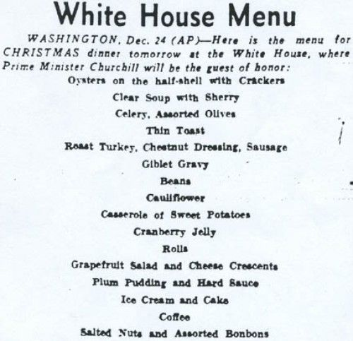 All the Presidentsu0027 Menus What First Families Eat on Christmas - dinner menu