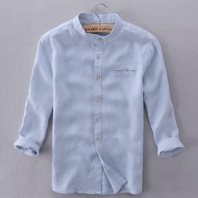 16c19c46b06d7 Italia marca camisas de los hombres la ropa azul cielo moderno sólido camisa  hombres casual de manga tres cuartos camisa para hombre de la moda de  verano ...