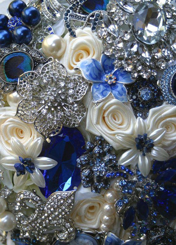 Sapphire royal blue brooch wedding bouquet Deposit by annasinclair, $75.00
