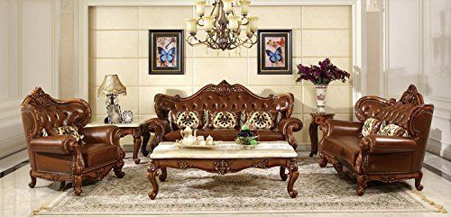Wonderful Ma Xiaoying Genuine Leather, Solid Wood Beech,Traditional Collection Living  Room Furniture Set (Sofa, Loveseat And Chair And 2tables), Brown.
