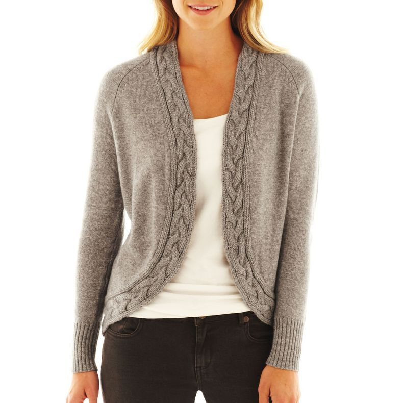 Jcpenney Liz Claiborne Cable Trim Cardigan Sweater Jcpenney My
