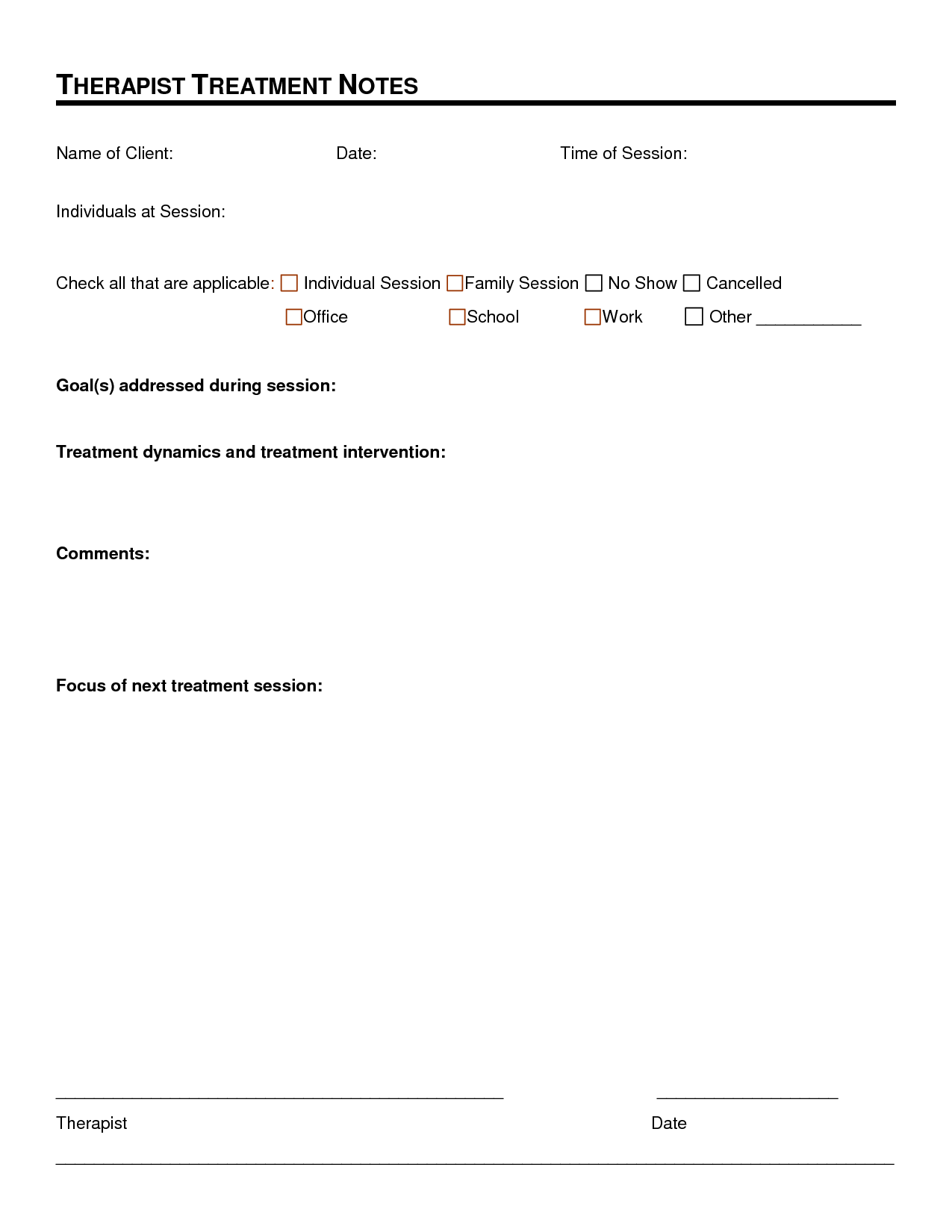 Therapy Progress Notes Template. documentation forms therapy fun ...