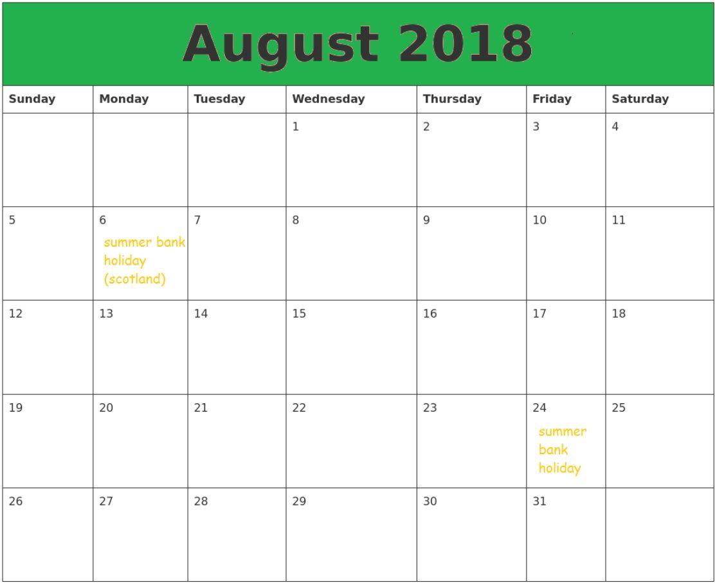 August 2018 Holidays Calendar 2018 Holiday Calendar Holiday