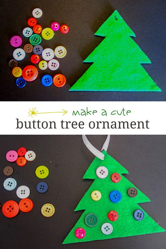 Button Christmas Tree Ornament Cute  Simple Button tree
