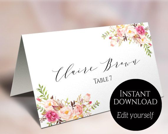 These Gorgeous Floral Place Cards Will Be A Perfect Addition To Wedding Receptions And O Wedding Place Card Templates Place Card Template Printable Place Cards