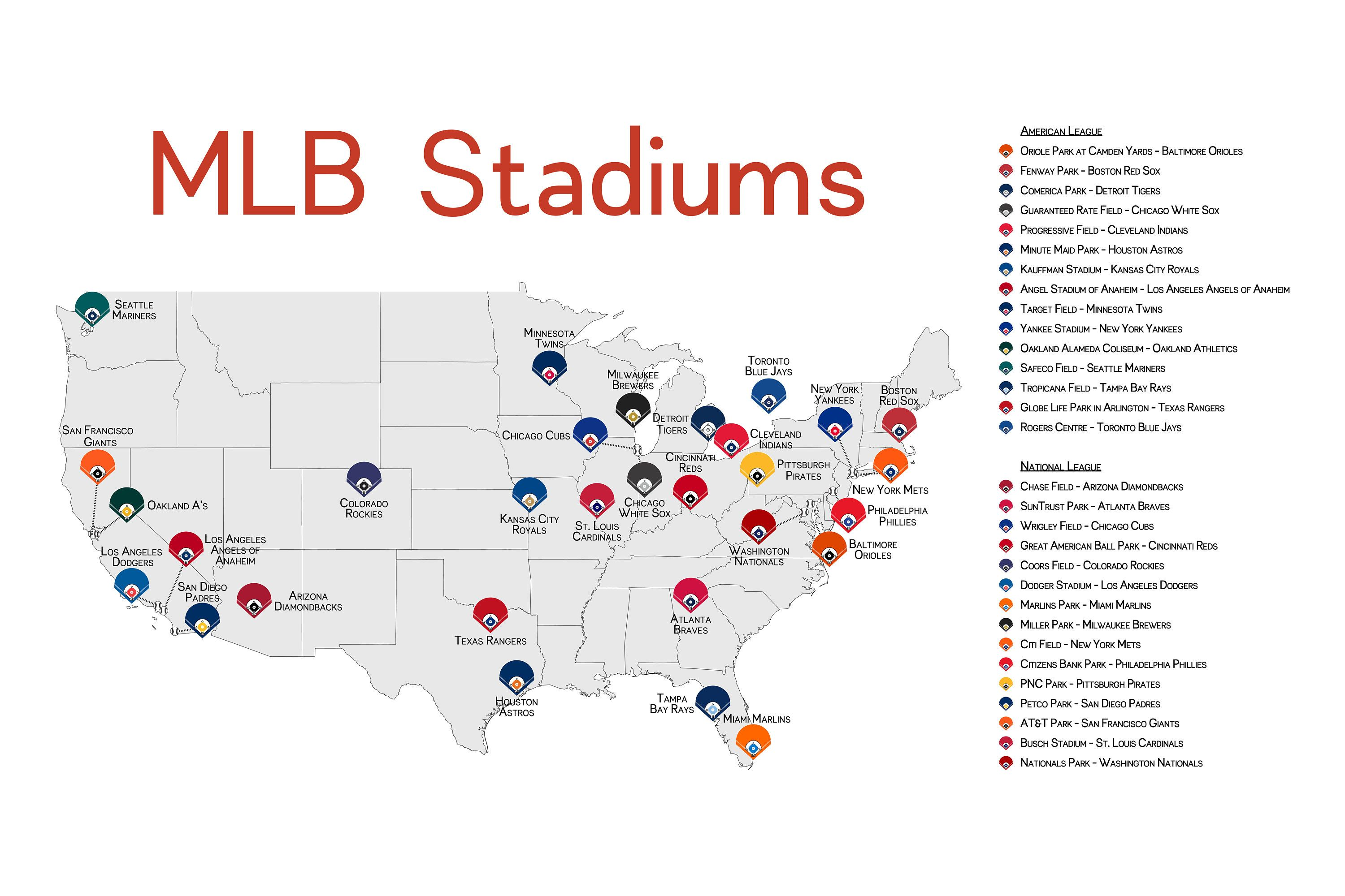 Map Of Mlb Stadiums In The Us Stadium Map, Stadium Checklist, Baseball Stadiums Map, MLB