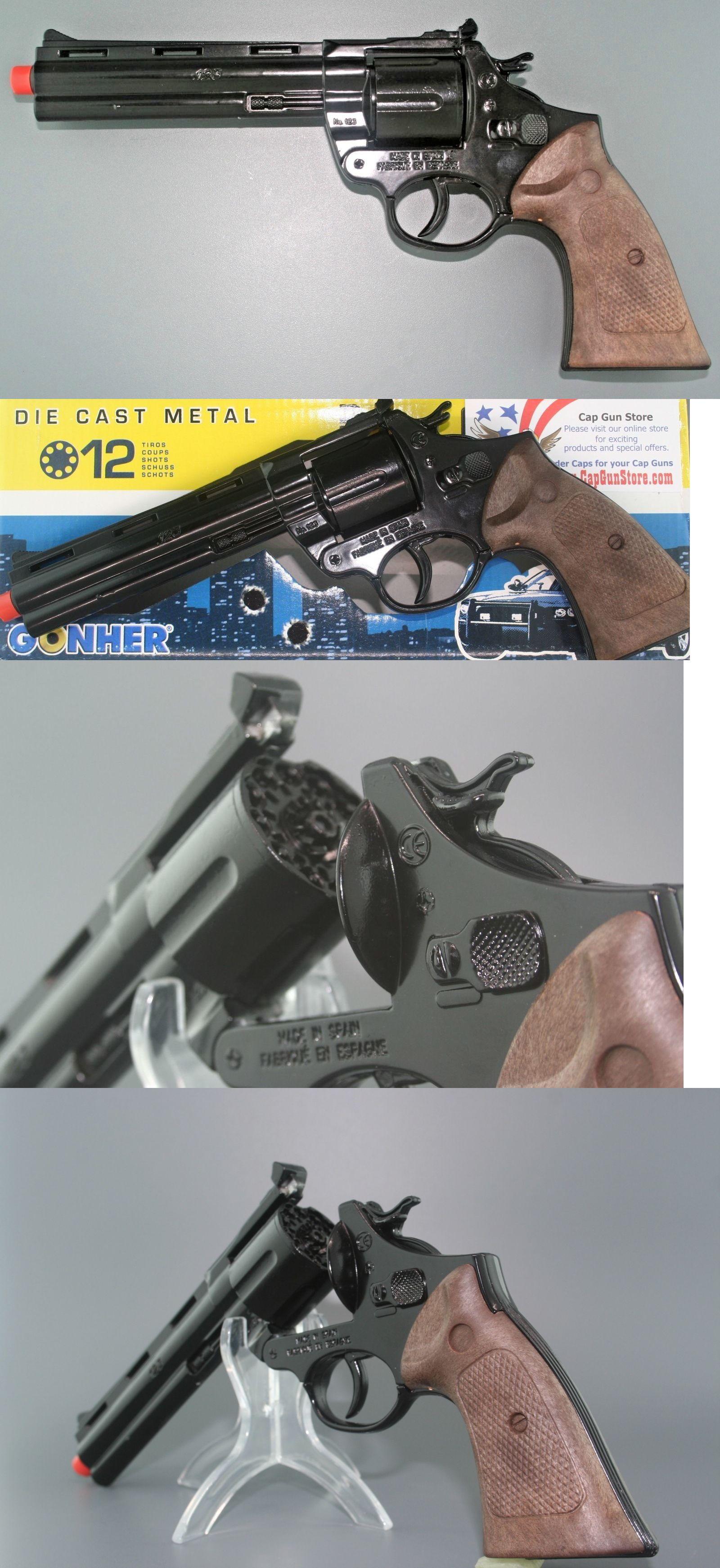 8 Ring Shot Cap Gun Police Series Pistol Revolver Black New play Toy Replica
