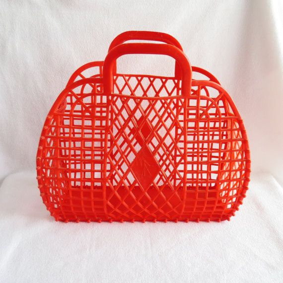 Vintage Soviet Red Hard Plastic Bag Beach Basket Summer Large Size Retro Style Ping