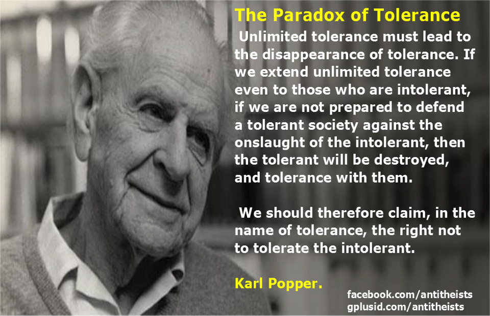 Image result for karl popper tolerance