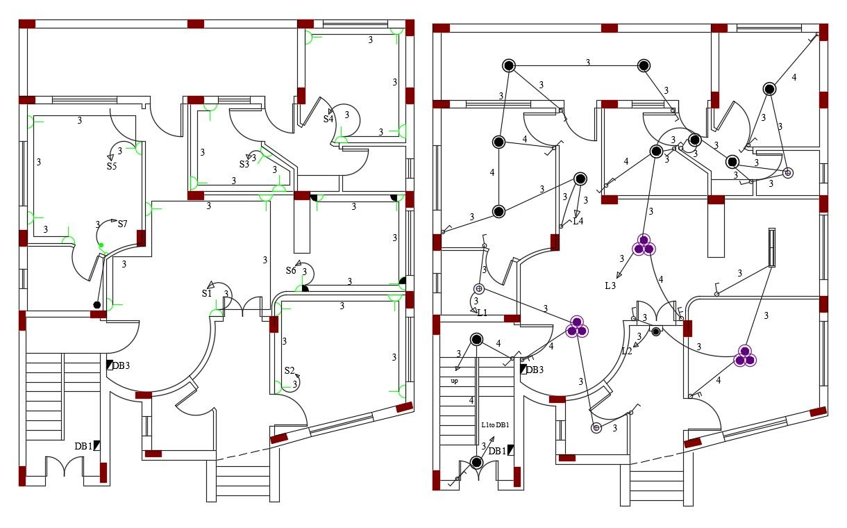 Electrical Layout Plan Of Modern House AutoCAD File in