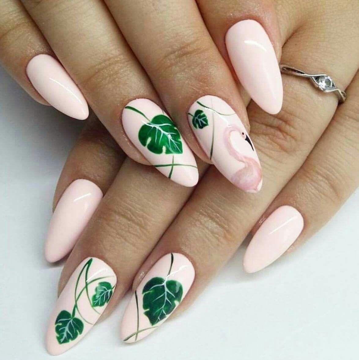 Summer Nails Tropical Nail Art Flamingo Nails Bright Nail Art