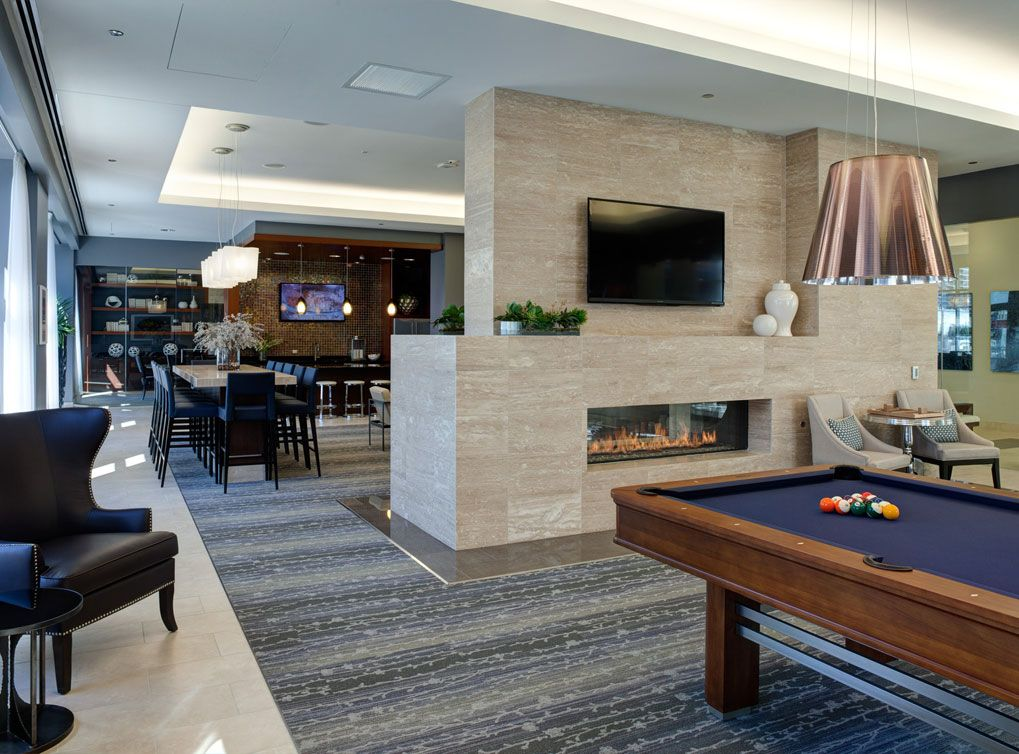 Sports Lounge With Billiards Table At AMLI River North A Luxury Apartment Community In Chicago