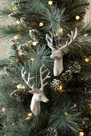 Set Of 2 Stag Head Baubles Stag Head Snowflake Decorations Christmas Garland