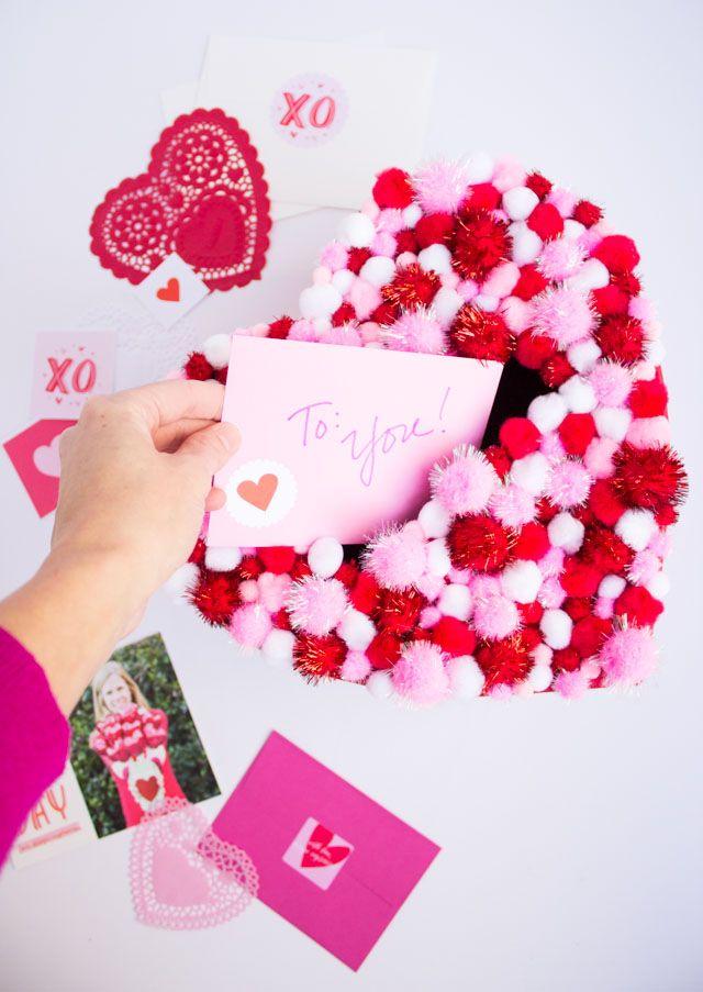 Diy Pom Pom Heart Valentines Box Valentines For Kids Valentine