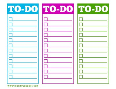 Free Printable ToDo List Available In  Different Colors