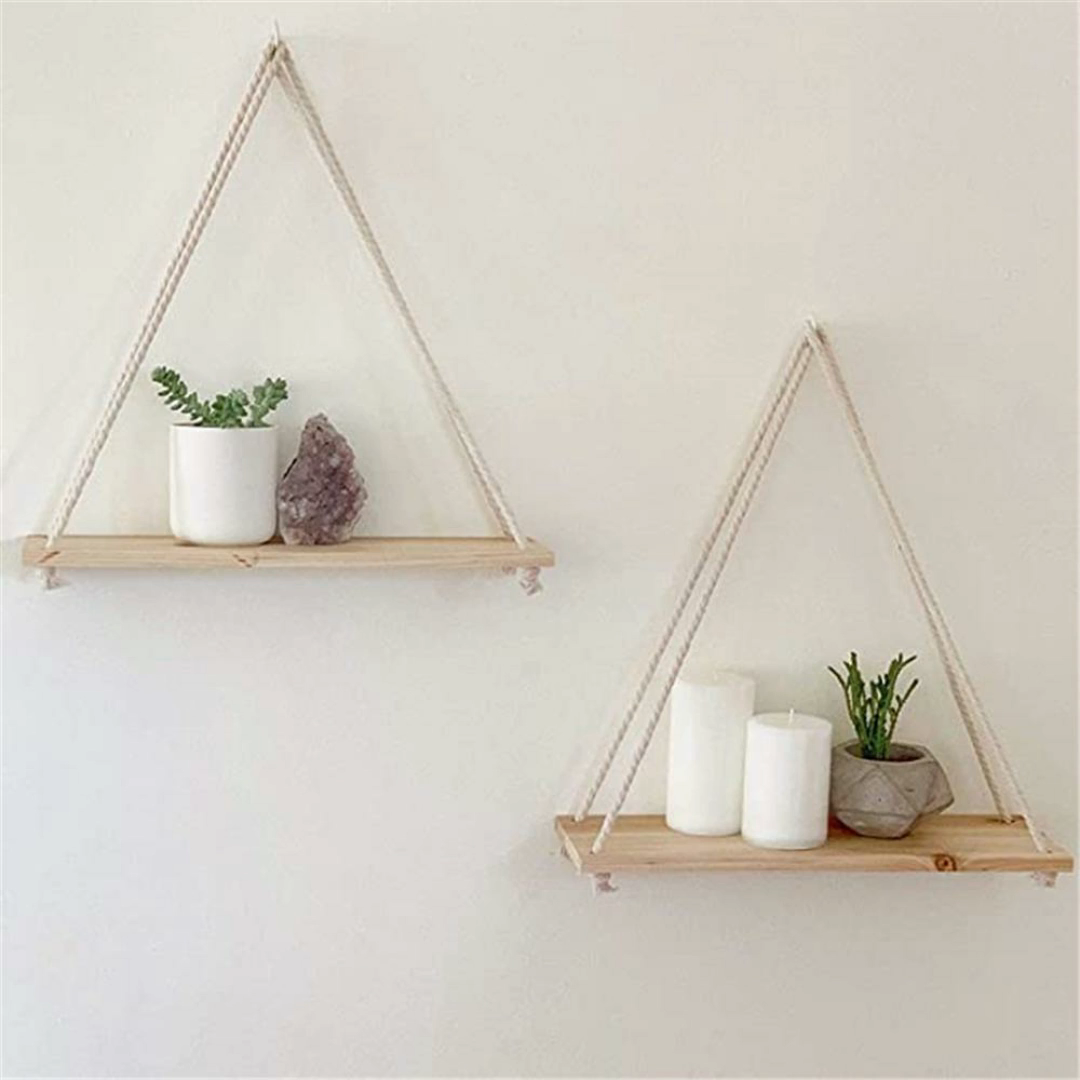 Photo of Premium Wood Swing Hanging Rope Wall Mounted Floating Shelves Plant Flower Pot