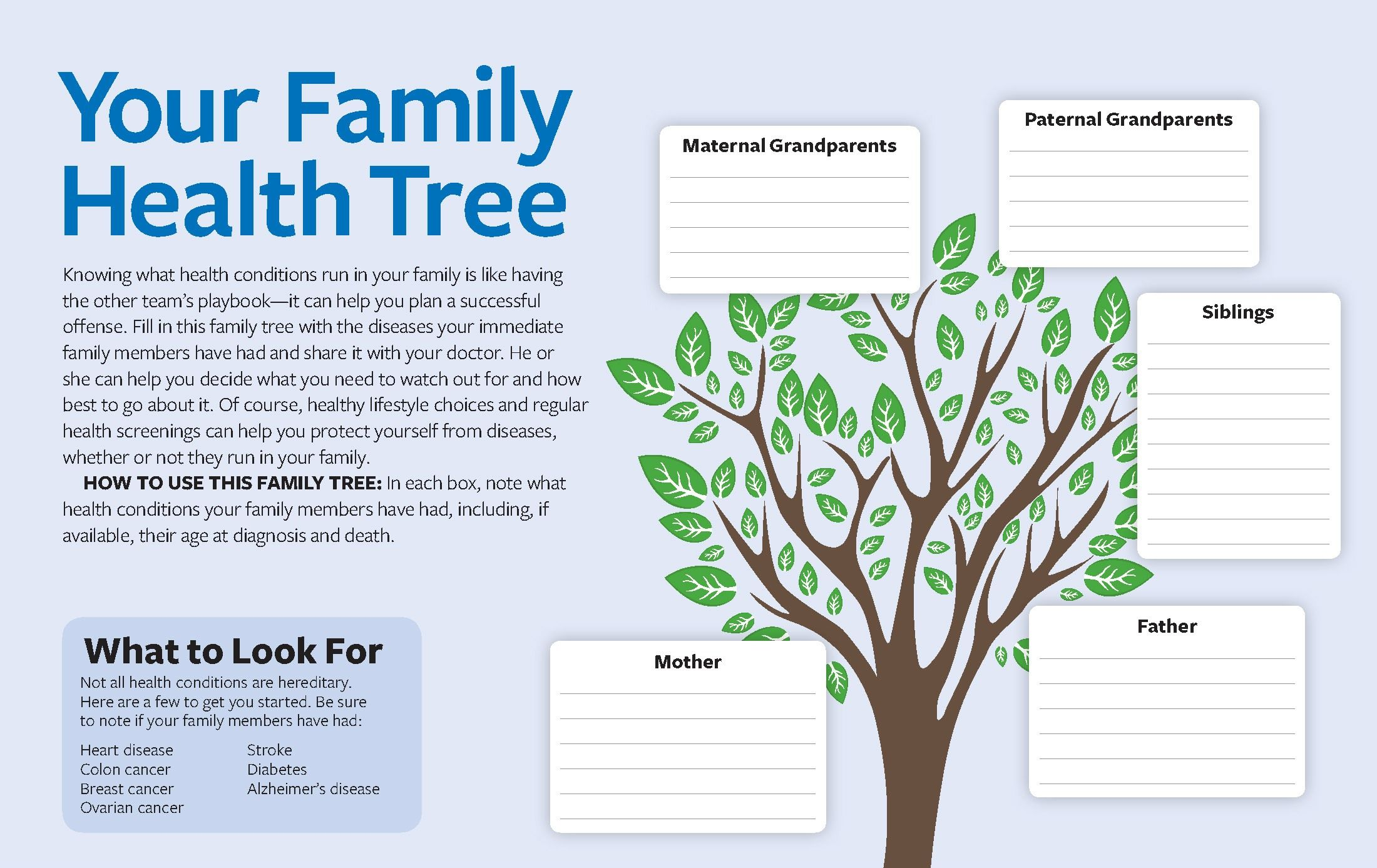 printable your family health tree knowing what health conditions
