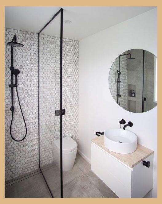Penny Tile Feature Wall Ensuite Bathroom Ideas Modern Bathroom Ensuite Bathroom Idea Modern Small Bathrooms Small Shower Room Small Bathroom Renovations