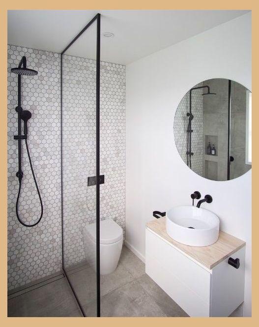 Penny Tile Feature Wall Ensuite Bathroom Ideas Modern Bathroom Ensuite Bathroom Idea Small Bathroom Renovations Modern Small Bathrooms Small Shower Room