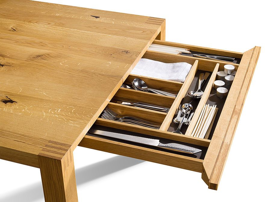 Loft Dining Room Table With Practical Cutlery Drawer Dining