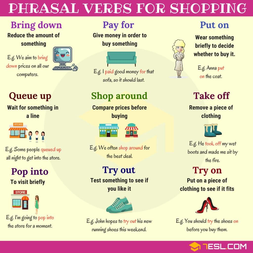 Shopping Vocabulary 19 Useful Phrasal Verbs For Shopping