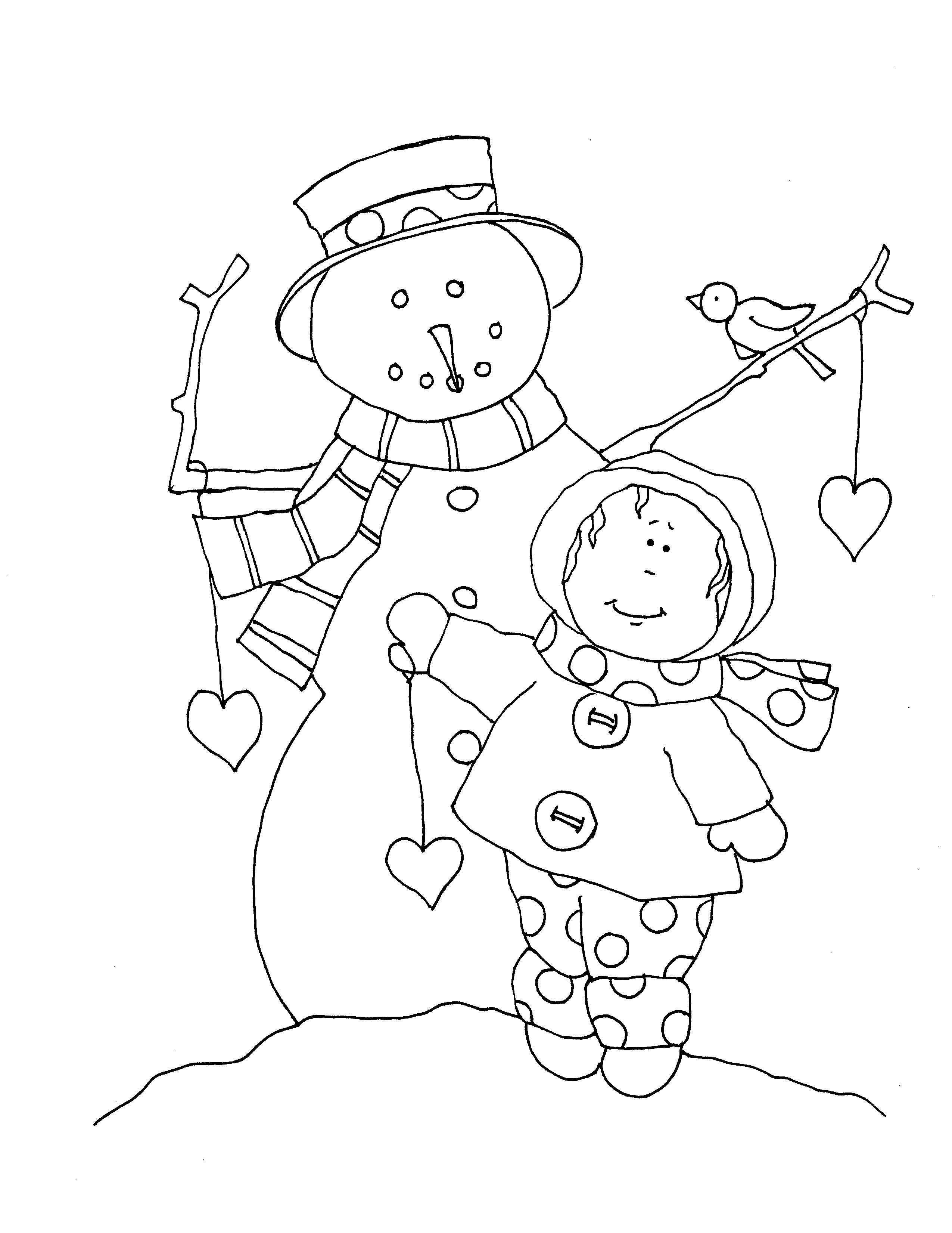 Snowman and little girl Dearie Dolls Digi Stamps Graphic