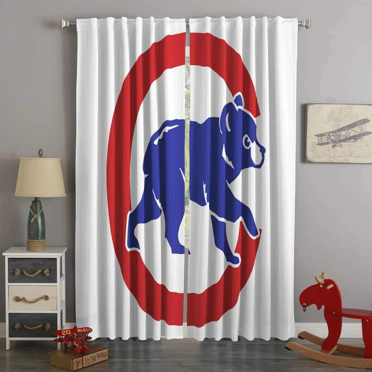 3d Printed Chicago Cubs Style Custom Living Room Curtains Curtains Living Room Curtains Cubs Room