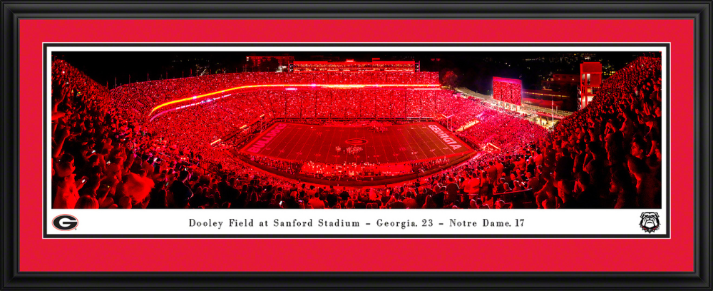 Bulldogs Football Panoramic Poster Red Lights at