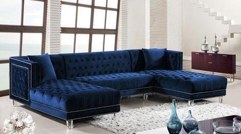 Blue Velvet Tufted 3pcs Sectional Sofa
